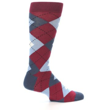 Image of Apple Red Blue Argyle Men's Dress Socks (side-1-23)