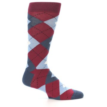 Image of Apple Red Blue Argyle Men's Dress Socks (side-1-24)