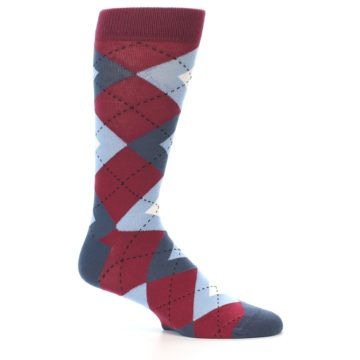 Image of Apple Red Blue Argyle Men's Dress Socks (side-1-25)