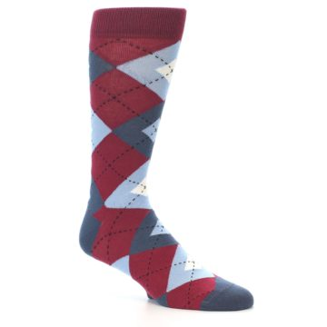 Image of Apple Red Blue Argyle Men's Dress Socks (side-1-26)