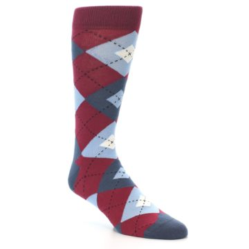 Image of Apple Red Blue Argyle Men's Dress Socks (side-1-27)