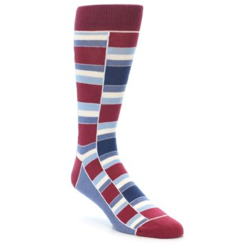 Image of Apple Red Blue Stacked Men's Dress Socks (side-1-front-01)