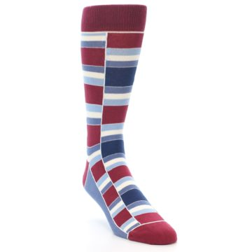 Image of Apple Red Blue Stacked Men's Dress Socks (side-1-front-02)