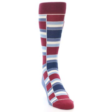 Image of Apple Red Blue Stacked Men's Dress Socks (side-1-front-03)