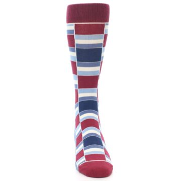 Image of Apple Red Blue Stacked Men's Dress Socks (front-04)