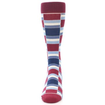Image of Apple Red Blue Stacked Men's Dress Socks (front-05)