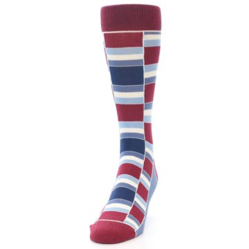 Image of Apple Red Blue Stacked Men's Dress Socks (side-2-front-06)