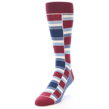 Image of Apple Red Blue Stacked Men's Dress Socks (side-2-front-07)