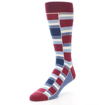 Image of Apple Red Blue Stacked Men's Dress Socks (side-2-front-08)