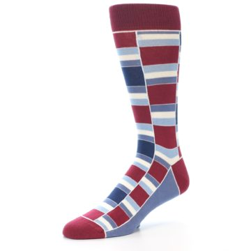 Image of Apple Red Blue Stacked Men's Dress Socks (side-2-09)