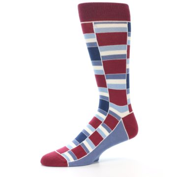Image of Apple Red Blue Stacked Men's Dress Socks (side-2-10)