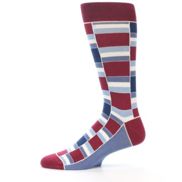 Image of Apple Red Blue Stacked Men's Dress Socks (side-2-11)
