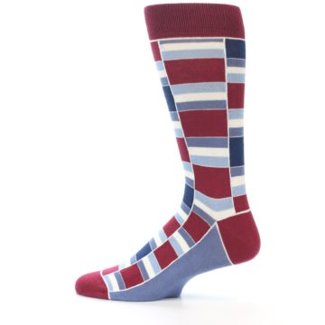 Image of Apple Red Blue Stacked Men's Dress Socks (side-2-12)