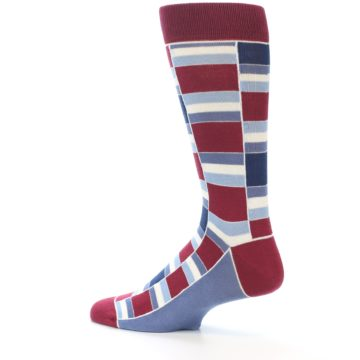 Image of Apple Red Blue Stacked Men's Dress Socks (side-2-13)