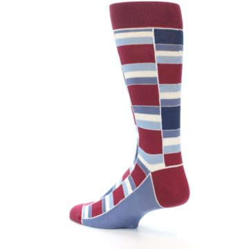 Image of Apple Red Blue Stacked Men's Dress Socks (side-2-back-14)