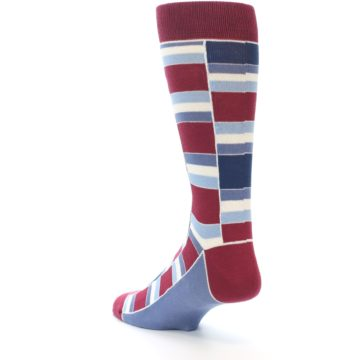 Image of Apple Red Blue Stacked Men's Dress Socks (side-2-back-15)