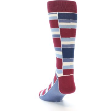 Image of Apple Red Blue Stacked Men's Dress Socks (side-2-back-16)