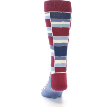Image of Apple Red Blue Stacked Men's Dress Socks (back-17)