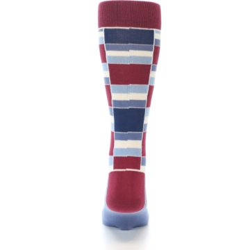 Image of Apple Red Blue Stacked Men's Dress Socks (back-18)