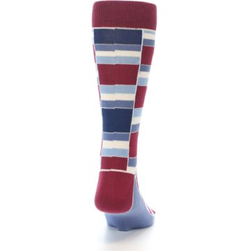 Image of Apple Red Blue Stacked Men's Dress Socks (back-19)