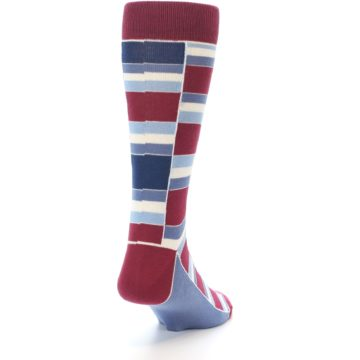 Image of Apple Red Blue Stacked Men's Dress Socks (side-1-back-20)