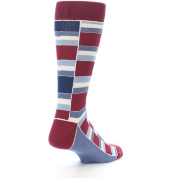 Image of Apple Red Blue Stacked Men's Dress Socks (side-1-back-21)