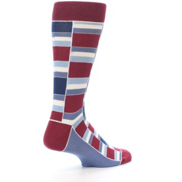 Image of Apple Red Blue Stacked Men's Dress Socks (side-1-back-22)