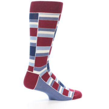 Image of Apple Red Blue Stacked Men's Dress Socks (side-1-23)