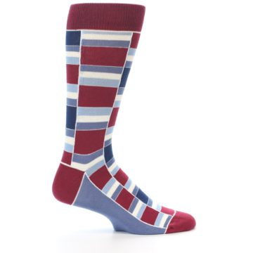 Image of Apple Red Blue Stacked Men's Dress Socks (side-1-24)