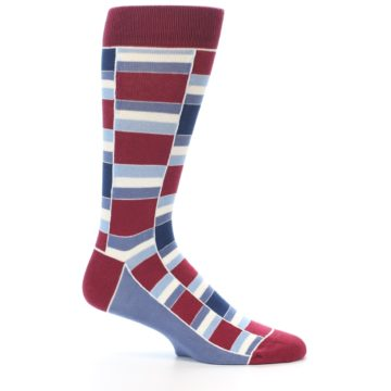 Image of Apple Red Blue Stacked Men's Dress Socks (side-1-25)