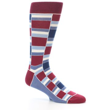 Image of Apple Red Blue Stacked Men's Dress Socks (side-1-26)