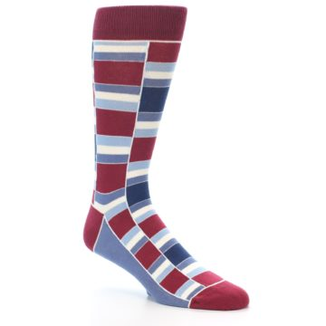 Image of Apple Red Blue Stacked Men's Dress Socks (side-1-27)