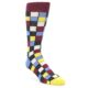 Image of Blues Yellow Red Checkered Men's Dress Socks (side-1-front-01)