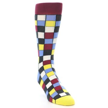 Image of Blues Yellow Red Checkered Men's Dress Socks (side-1-front-02)