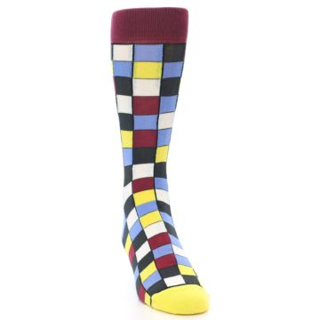 Image of Blues Yellow Red Checkered Men's Dress Socks (side-1-front-03)