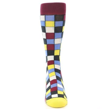 Image of Blues Yellow Red Checkered Men's Dress Socks (front-04)
