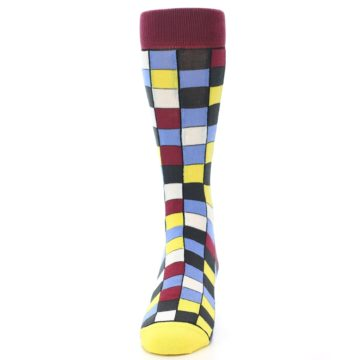 Image of Blues Yellow Red Checkered Men's Dress Socks (front-05)
