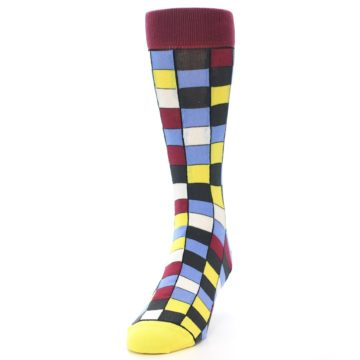 Image of Blues Yellow Red Checkered Men's Dress Socks (side-2-front-06)