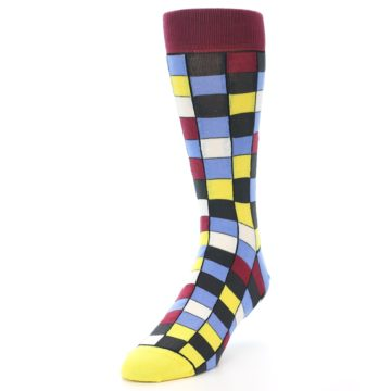 Image of Blues Yellow Red Checkered Men's Dress Socks (side-2-front-07)