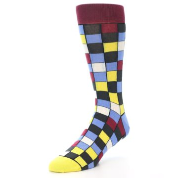 Image of Blues Yellow Red Checkered Men's Dress Socks (side-2-front-08)