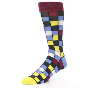 Image of Blues Yellow Red Checkered Men's Dress Socks (side-2-09)