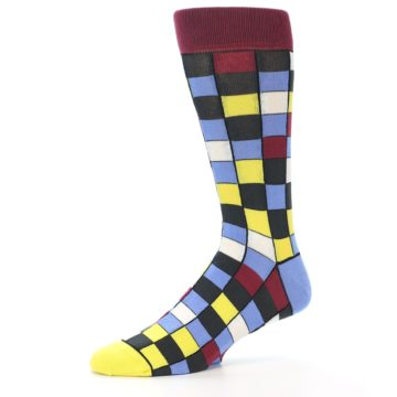Image of Blues Yellow Red Checkered Men's Dress Socks (side-2-10)