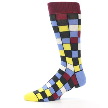 Image of Blues Yellow Red Checkered Men's Dress Socks (side-2-11)