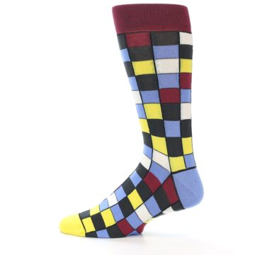 Image of Blues Yellow Red Checkered Men's Dress Socks (side-2-12)