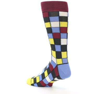 Image of Blues Yellow Red Checkered Men's Dress Socks (side-2-back-14)