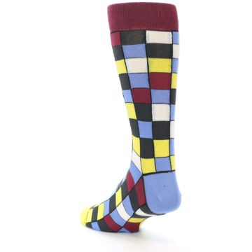 Image of Blues Yellow Red Checkered Men's Dress Socks (side-2-back-15)