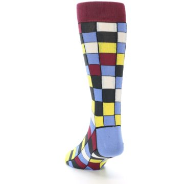 Image of Blues Yellow Red Checkered Men's Dress Socks (side-2-back-16)