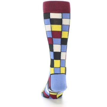 Image of Blues Yellow Red Checkered Men's Dress Socks (back-17)