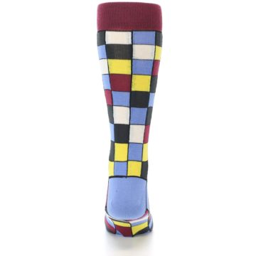 Image of Blues Yellow Red Checkered Men's Dress Socks (back-18)