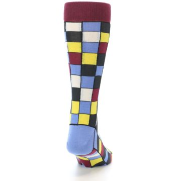 Image of Blues Yellow Red Checkered Men's Dress Socks (back-19)